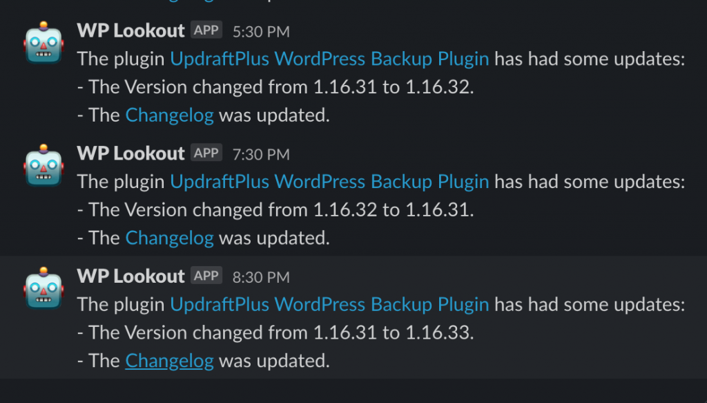 A screenshot of WP Lookout's bot in a Slack channel noting version updates to the UpdraftPlus Backup Plugin.