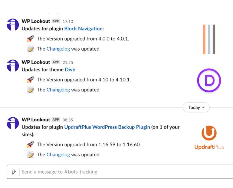 Example Slack notification stream